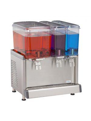 Crathco CS-3D-16 Simplicity Bubbler Series Triple Bowl Premix Cold Beverage Dispenser with (1) 4.75 Gallon Hopper, (2) 2.4 Gallon Hoppers With Agitation Function
